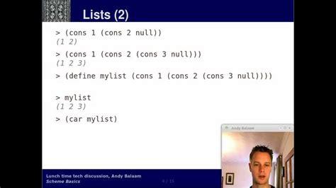 scheme pair scheme 2 basics pairs and lists youtube
