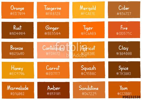 orange shades names quot orange tone color shade background with code and name illustration quot stock image and royalty