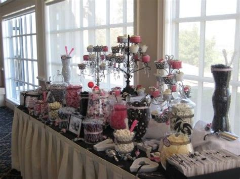 Hot Pink Black White Candy Bar Ideas Beautiful Black Pink And Black Buffet