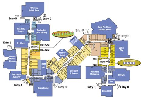 gurnee mills map 這是 gurnee mills 的平面圖 熟悉美國賣場的人大概