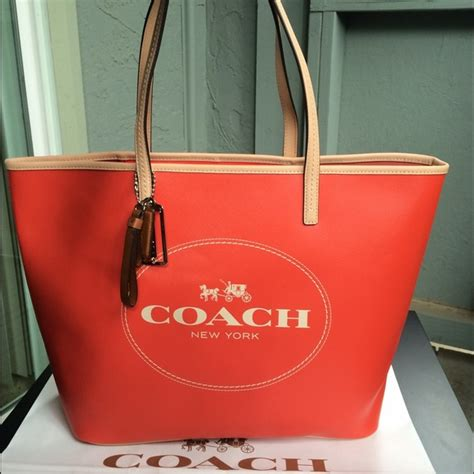 Coach Tote Bag Orange Authentic 54 coach handbags nwt coach logo saffiano logo tote