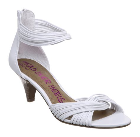 new heels womens white strappy kitten heels