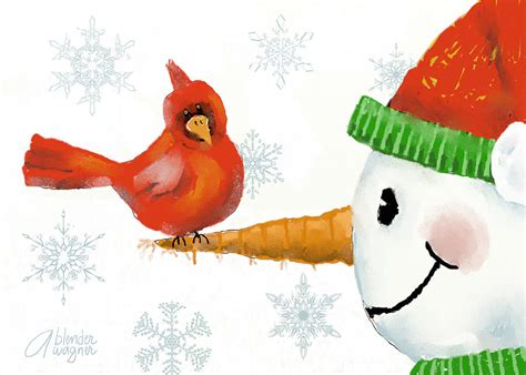 google images snowman snowman and the cardinal print by arline wagner
