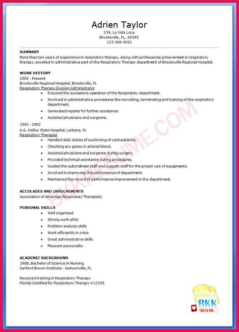 respiratory therapist resume cover letter sle respiratory therapist resume sop exles