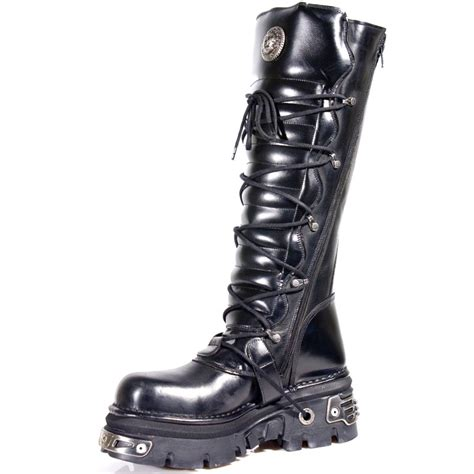 new rock boots black leather knee high boots