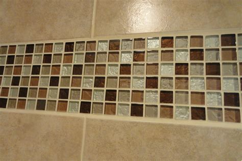 natural ground color scheme bathroom wall decor with mosaic glass bathroom wall trim idea and