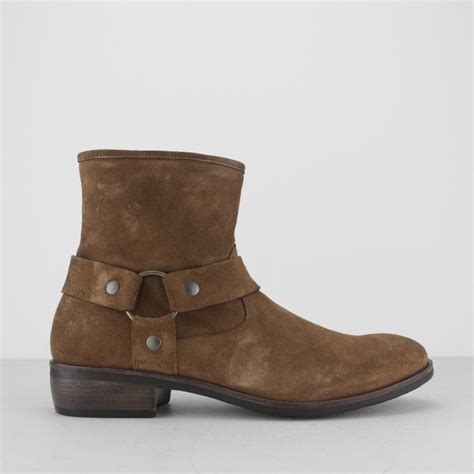 mens suede zip boots machete calico mens suede leather harness zip boots brown