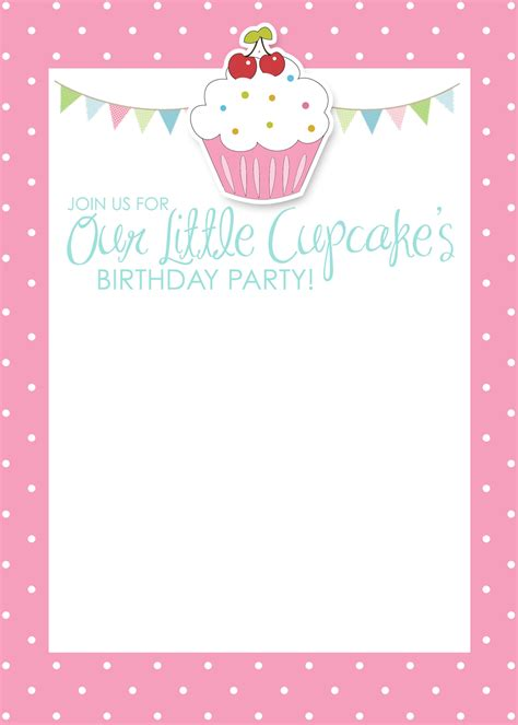 7 best images of cupcake birthday invitations printable