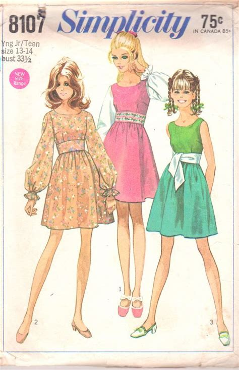 sewing patterns young fashion simplicity 8107 1960s young jr teen midriff mini dress