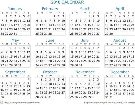 yearly calendar 2018 printable calendar monthly