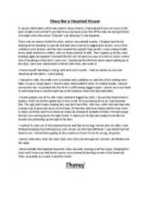 Haunted House Essay by Describe A Haunted House Gcse Marked By Teachers