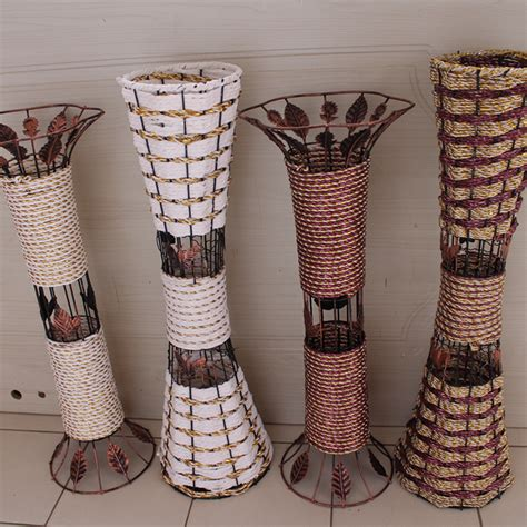 rattan floor vase dried flowers artificial flower bronze