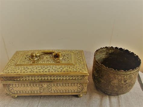 Storage Pot Vase antique brass storage box brass pot vase catawiki