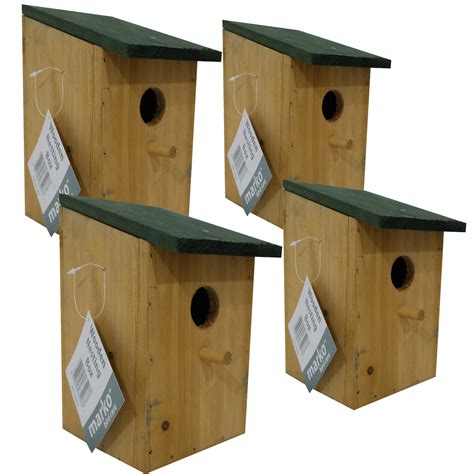 4 x wooden nesting box traditional bird nest house small