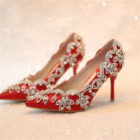 women pumps 2017 red bridal shoes high heels wedding shoes