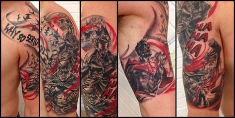 batman harley tattoo half sleeve tattoo of batman superman joker and harley