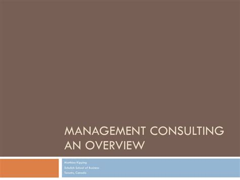 Mba To Management Consulting by Management Consulting Overview
