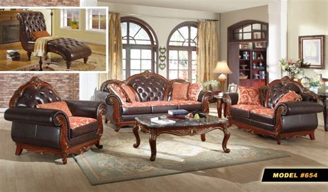 Wood And Leather Living Room Furniture Traditional Brown Button Tufted Leather Living Room Furniture W Exposed Wood