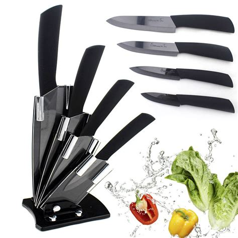 Set Of 4 Knives Peeler 6pcs 100 new 3 quot 4 quot 5 quot 6 quot peeler knives holder ceramic