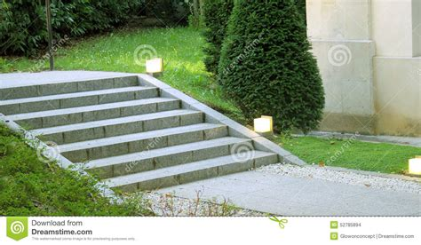 Landscape Stairs Design Garden Landscape Design Stair With Light Stock Photo Image 52785894