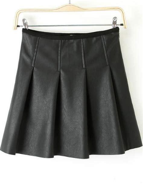 black pleated pu skirt abaday