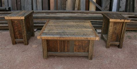 reclaimed barnwood rustic coffee end table set by