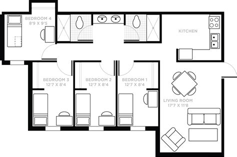 Typical Hotel Room Floor Plan by Lake Claire Community Apartments 187 Housing And Residence