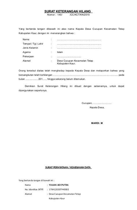 Contoh Surat Izin Sekolah Atas Nama Sendiri by Contoh Surat Pengantar Kepala Desa Cucupan