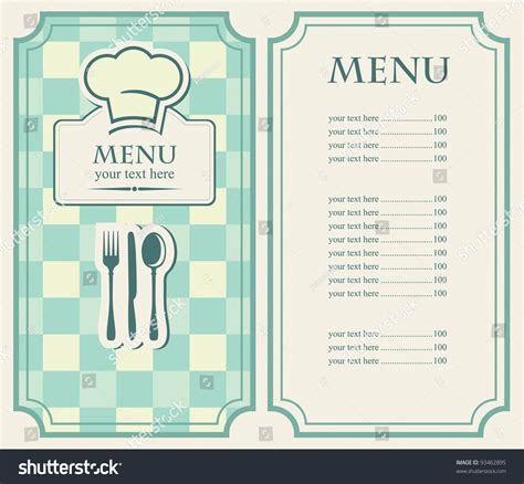simple html menu template green menu for a cafe or restaurant stock vector