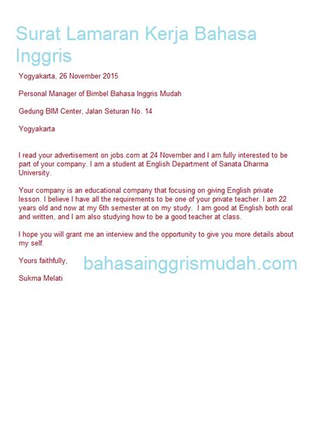 application letter bahasa indonesia 100 original papers contoh application letter dalam