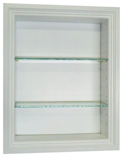 recessed wall shelves 18 quot recessed in the wall oakland niche white transitional bathroom cabinets and shelves by