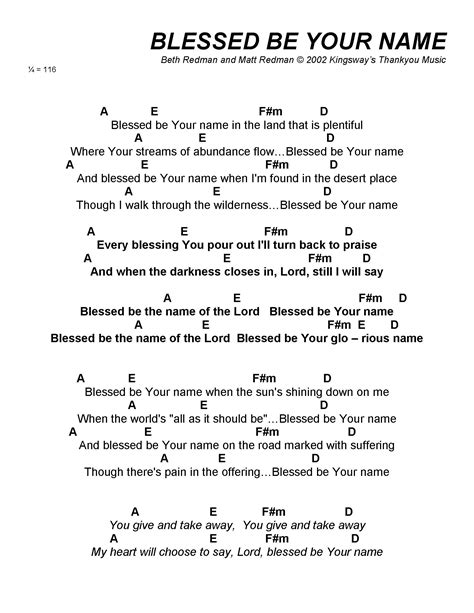 Guitar Chords For Blessed Be Your Name