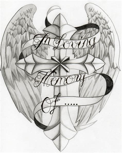 in memory cross tattoo designs in loving memory of winged cross design