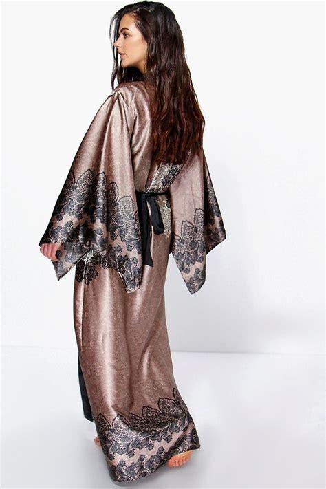 Maxi Kimono paisley satin maxi kimono robe w 2019 bielizna
