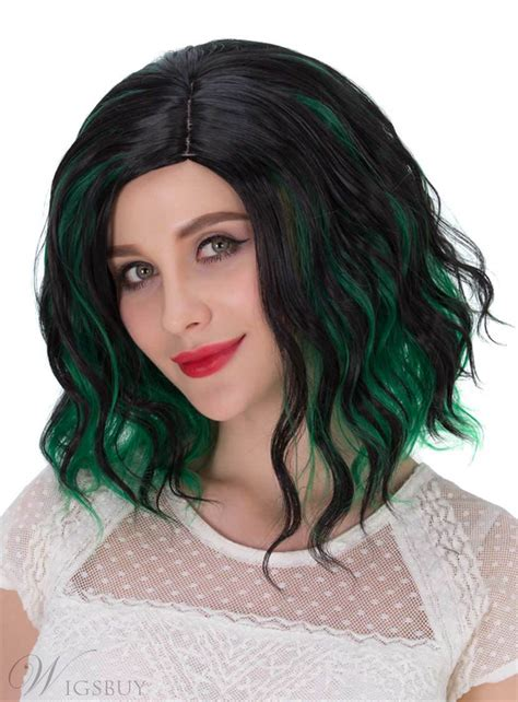 mixed hair colors lob mixed color green and black synthetic hair wave