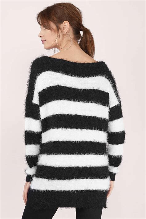 black white sweater stripped sweater a line sweater