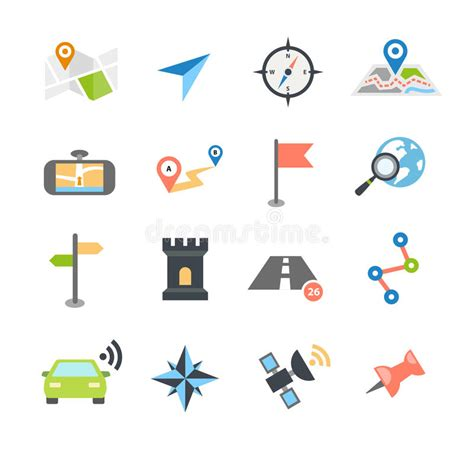 design navigation icon size navigation icons flat design stock vector image 51671504