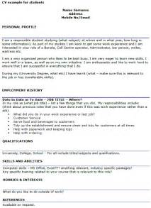 Cv Student Template by Student Cv Exle Template Icover Org Uk