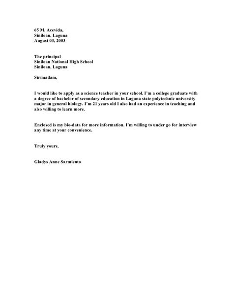 national service application letter application letters