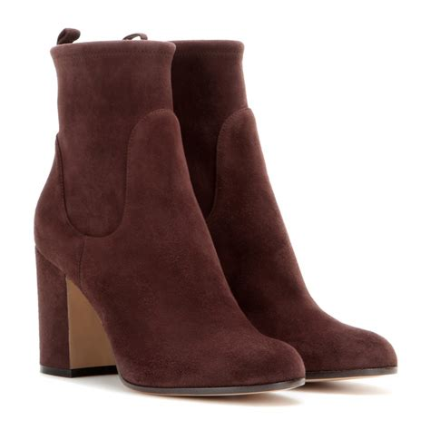 gianvito suede boots lyst gianvito suede ankle boots in brown