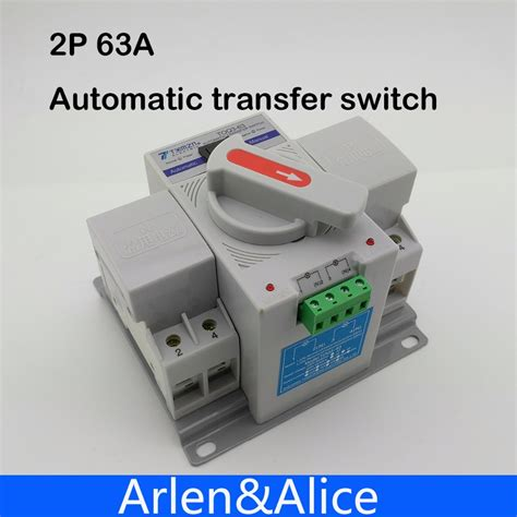 Protector Auto Recovery Mcb Din Rail Voltage 230v 40a aliexpress buy 2p 63a 230v mcb type dual power automatic transfer switch ats from reliable