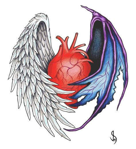 devil angel tattoo designs human with and wing design
