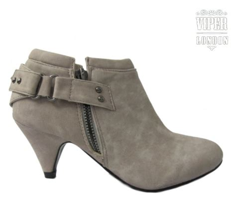 kitten heel grey suede shoes ankle boots size uk 3 8