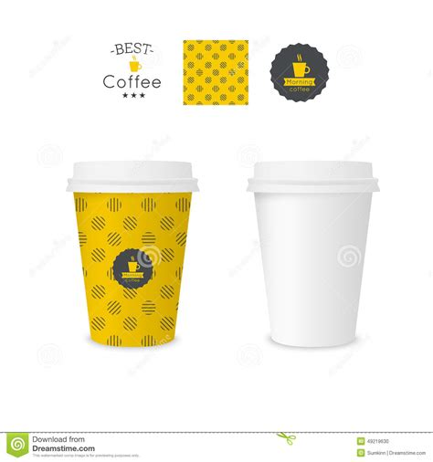 pattern paper cup pattern paper cup of tea or coffee vector illustration