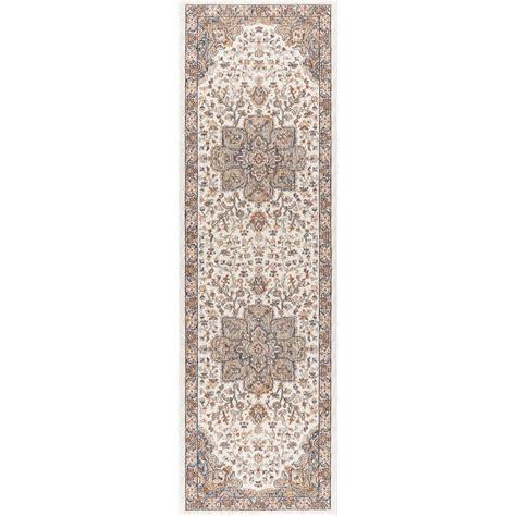 11 ft runner rug tayse rugs fairview ivory 2 ft 3 in x 11 ft runner fvw3302 2x11 the home depot