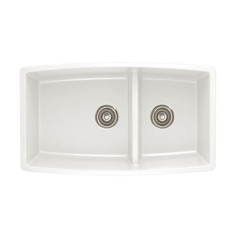 kitchen sinks white blanco performa undermount composite 33 in double bowl