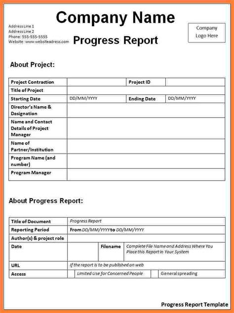 doc 585520 template for progress report progress