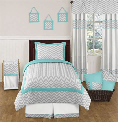 grey twin bedding zigzag turquoise grey white girl boy teen twin size kid