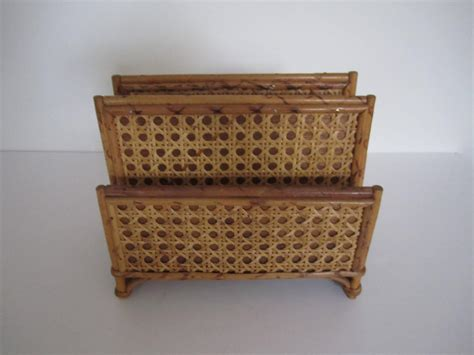 Rattan Desk Accessories 1970s Vintage Bamboo And Rattan Letter Holder Or Desk Organizer For Sale At 1stdibs