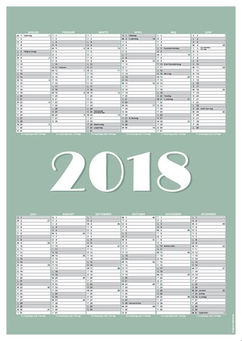 Kalender 2018 Print Gratis Print Selv Kalendere